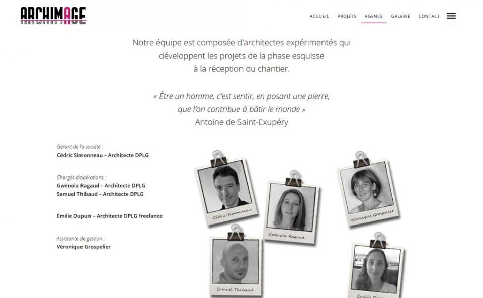 Page de l'agence Archimage et associées