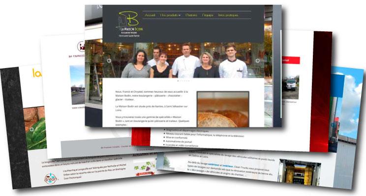 Page d'accueil de plusieurs sites Internet créés pour les commerces, artisans...
