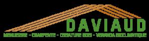 Charpente stylisée (3 fermes) et texte DAVIAUD féré à droite