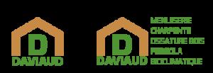"""Forme d'une maison en trait épais encadrant un D majuscule et texte """"fondation"""" DAVIAUD justifié"""