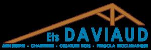 Ferme de charpente stylisée et texte DAVIAUD bleu