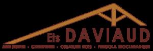 Ferme de charpente stylisée et texte DAVIAUD marron