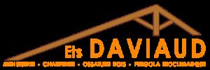 Ferme de charpente stylisée et texte DAVIAUD orange