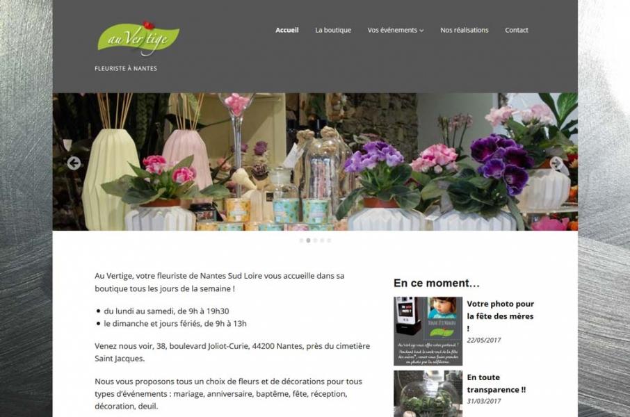 Page d'accueil du site Internet Au Vertige
