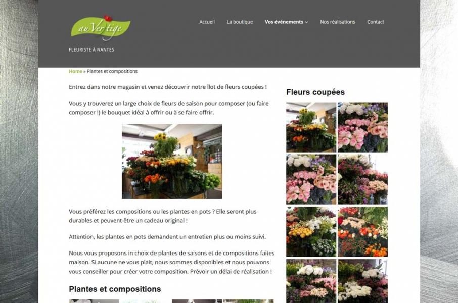 Page des fleurs coupées et des compositions du site Internet Au Vertige