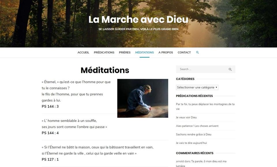 Page des méditations La Marche avec Dieu