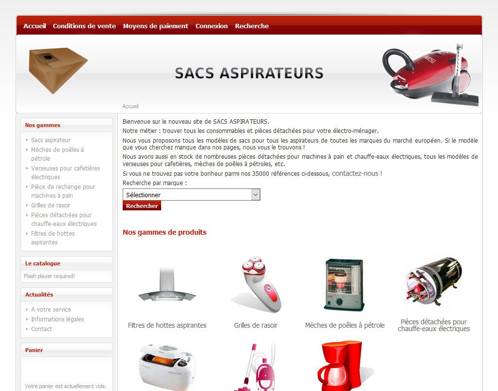 Page d'accueil du site sac-aspi.fr