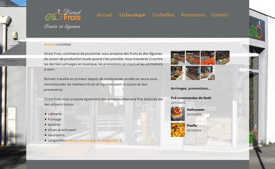 Page boutique Direct Frais