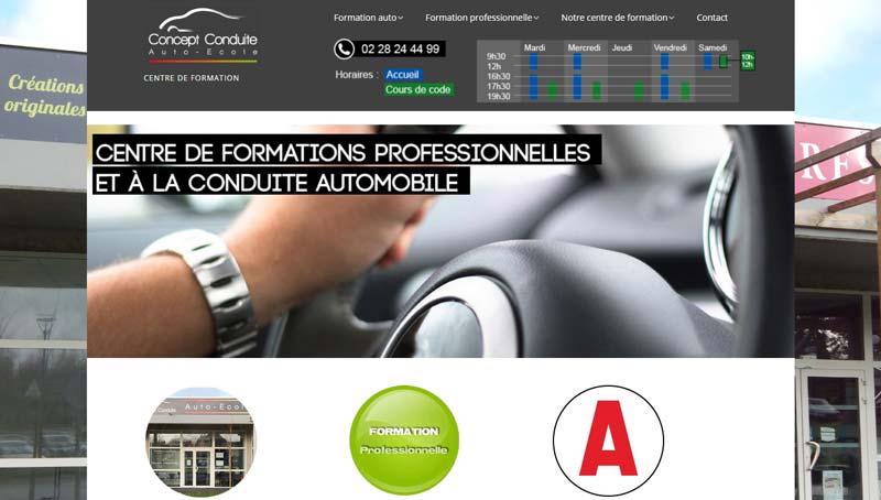 Page d'accueil du site de Concept Conduite à Grandchamp des Fontaines