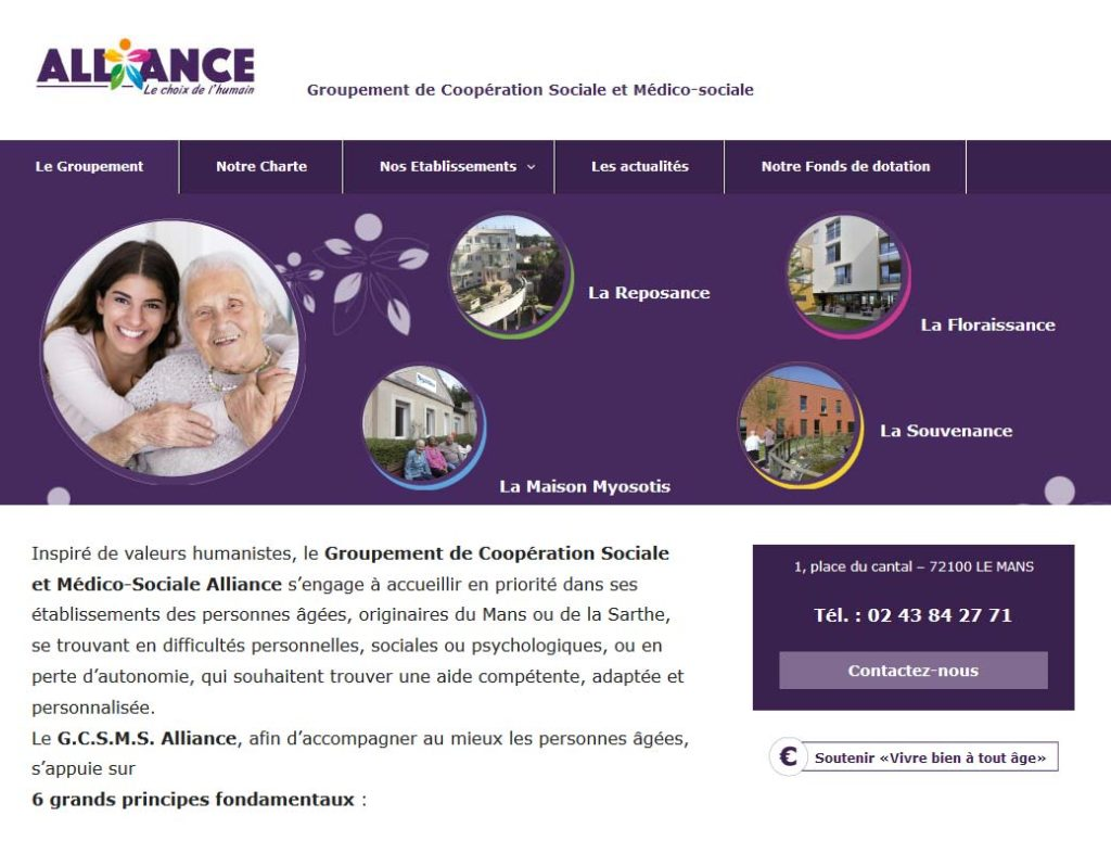 PAge d'accueil du site gcsms Alliance
