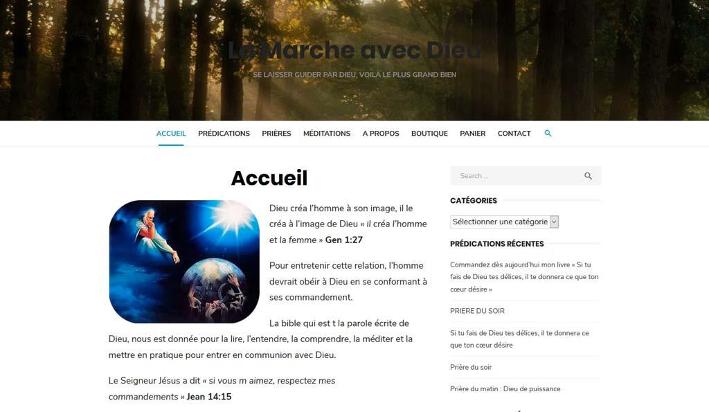 Page d'accueil du site WorPress La Marche avec Dieu
