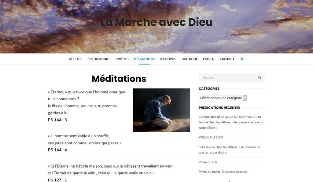Idées de méditations sur le site de La Marche avec Dieu