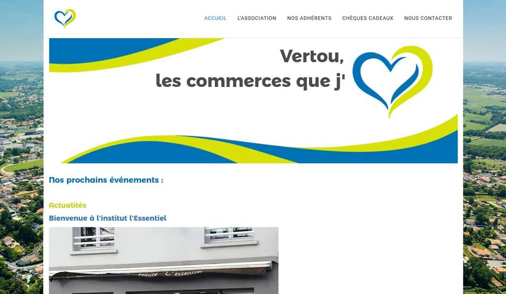 Page d'accueil du site Internet de Vertou les Commerces que J'aime