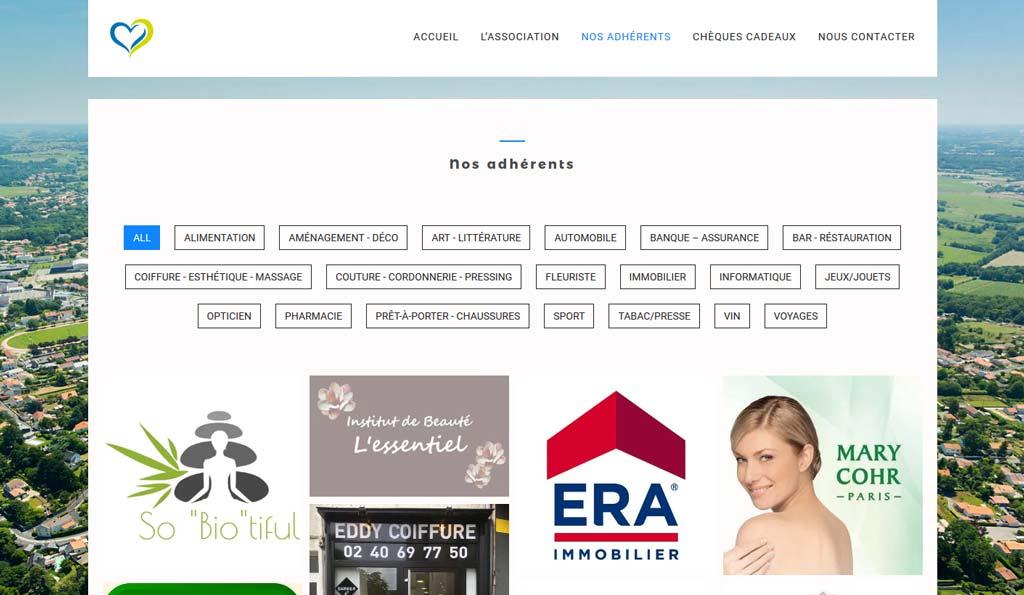 Page adhérents du site Internet de Vertou les Commerces que J'aime